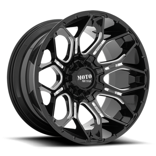 Moto Metal MO808 SNIPER 20x10 -18MM 8x180 GLOSS BLACK MILLED MO80821088318N