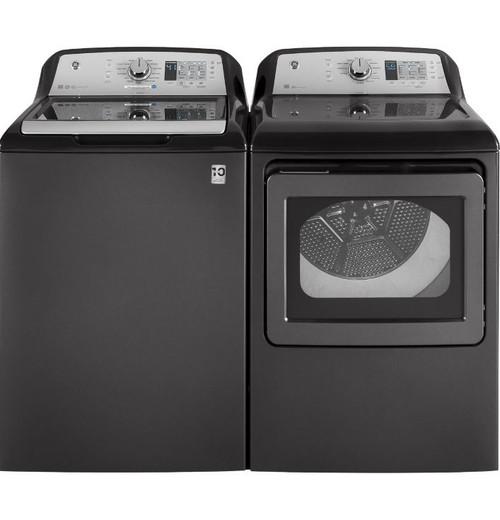 GE 4.6 cu. Ft. Washer & 7.4 cu. Ft. Dryer Set- Black