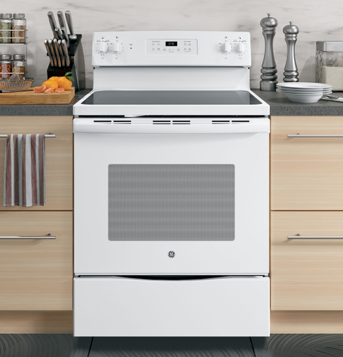 "30"" Free-Standing Electric Range Glass Top Oven - White or Black"