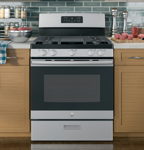 "30"" Free-Standing Gas Range Oven - Stainless & Black"