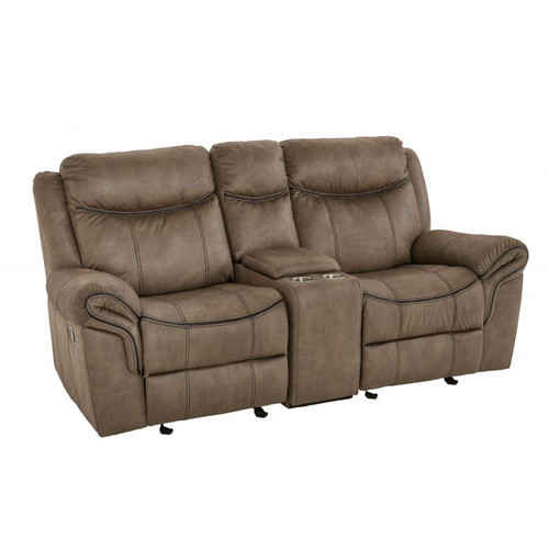 Knoxville Manual Reclining Loveseat w/ Console - Mocha