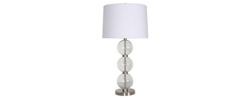 Glass & Steel Table Lamps 2PC Set