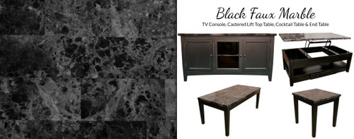 Black Faux Marble Cocktail Table & Two End Tables