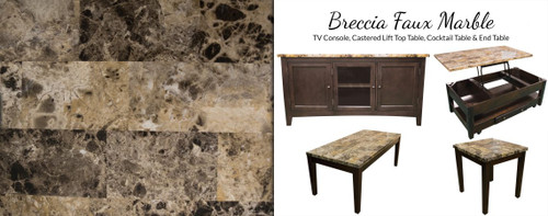 Breccia Faux Marble Cocktail Table & Two End Tables
