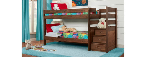 Twin/Twin Stairstep Chestnut Bunkbed