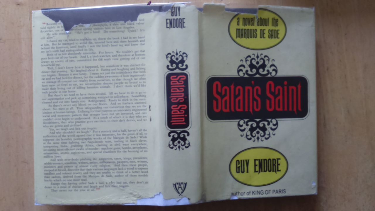 Endore, Guy - Satan's Saint - A Novel of the Marquis de Sade Uk First  Edition 1965