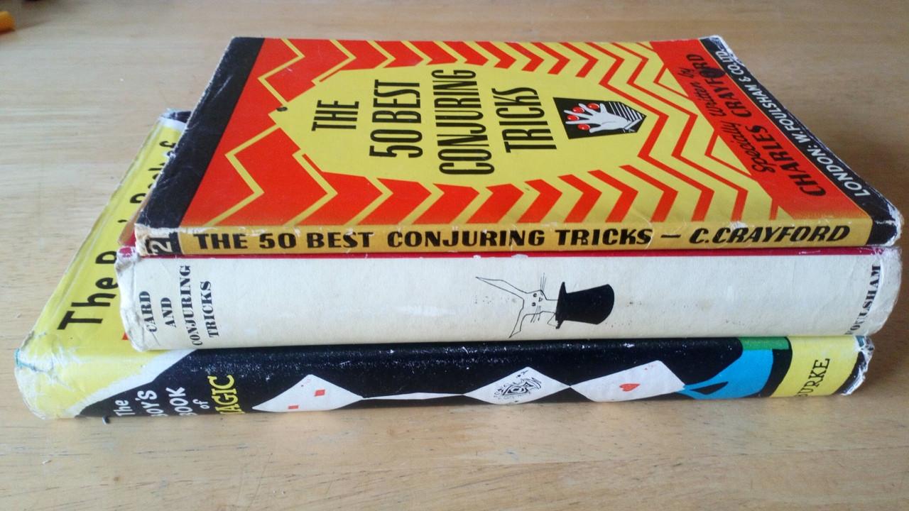Conjuring & Magic - 3 Vintage Book Lot - 2 Hb & 1 PB Card Tricks