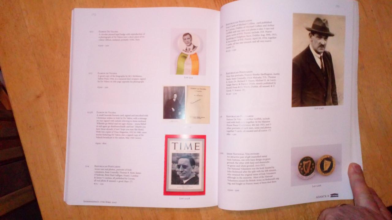 Irish History Auction Catalogues - Great Famine / Irish Independence Adam's Auctioneers
