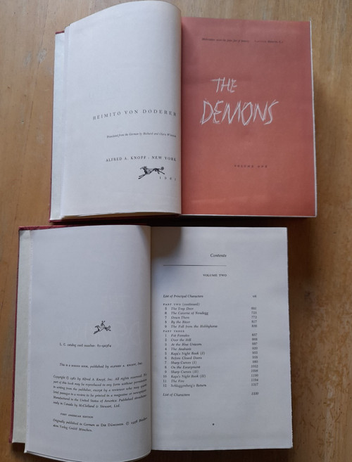 von Doderer, Heimito - The Demons ( Die Damonen) - HB Novel in two Volumes , Knopf USA , 1961 - Translated from the original German by Richard & Clara Winston) Die Dämonen: Nach der Chronik des Sektionsrates Geyrenhoff