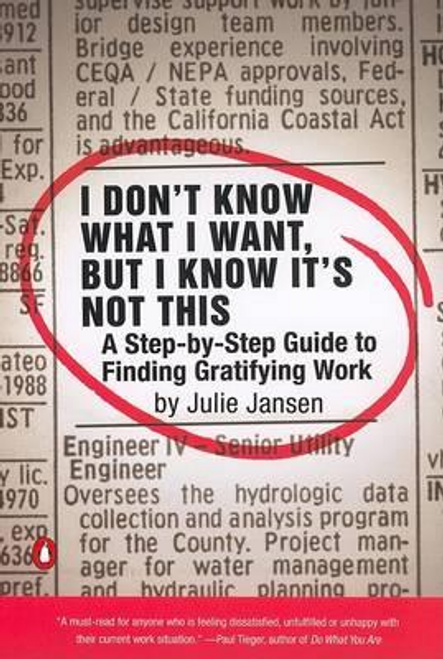 Jansen, Julie / I Don't Know What I Want, But I Know It's Not This : A Step-By-Step Guide to Finding Gratifying Work (Large Paperback)