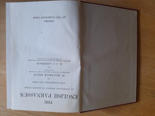 Macneile Dixon, W & Grierson, HJC  ( editors) - The English Parnassus : An Anthology of Longer Poems - HB - OUP