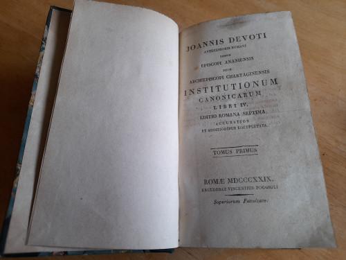 Devoti, Joannis - Institutionum Canonicarum Libri IV ( Edition Romana Septim a) - 1829 _ Rome - ( Latin) - Canon Law