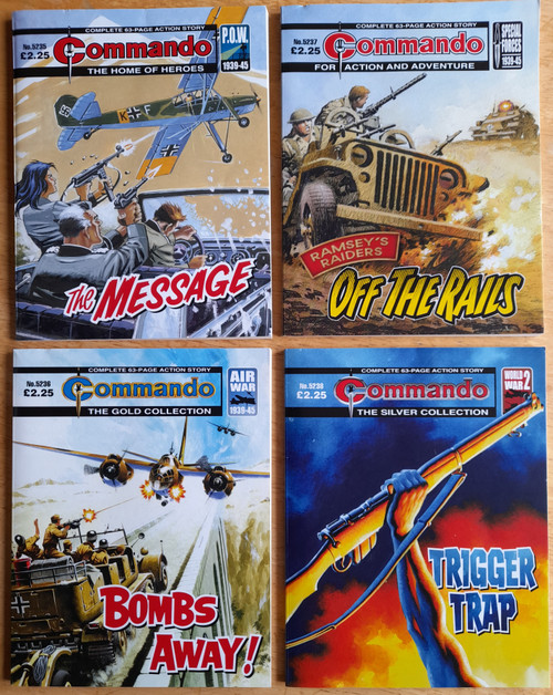Commando Library - 4 ACTION STORY PB'S 4 Issues 5235- 5238 - The Message, Off the Rails, Bombs Away, Trigger Trap  2011  - WW2