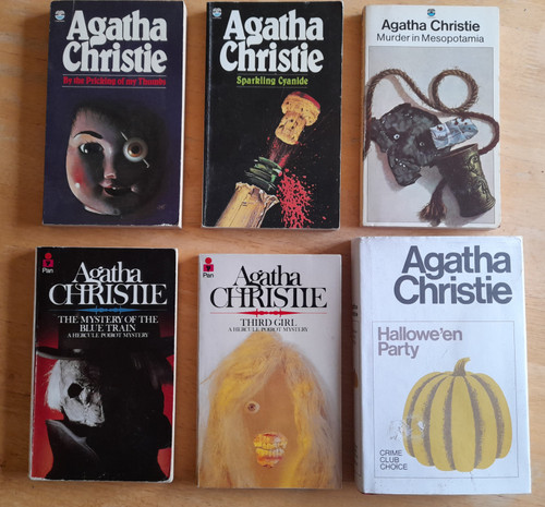 Christie, Agatha - 6 Book Lot -  Hallowe'en Party ( HB) , Third Girl, Mystery of the Blue Train, Sparkling Cyanide, Murder in Mespotamia, By The Pricking of My Thumbs - Vintage Crime PB