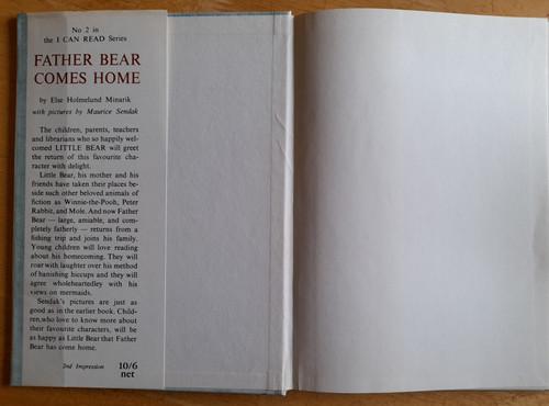 Minarik, Else Holmelund - Father Bear Comes Home - HB - Illustrated by Maurice Sendak  2nd Impression 1962