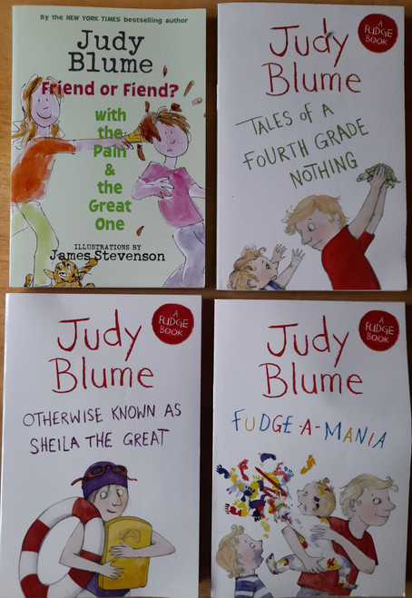 Blume, Judy - 4 Book Lot - ( Fudge Books Series  )  Tales of a Fourth Grade Nothing, Fudge - A- Mania , Otherwise Known as Sheila the Great, Friend or Foe & Pain and the Great One - PB