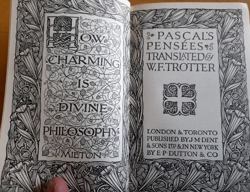 Pascal, Blaise - Pensees ( Translated by W.F Trotter) - Vintage Everyman HB ( 1931 - Originally c 1670)