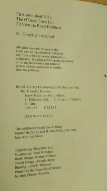 Mac Thomáis,  Éamonn - Janey Mack Me Shirt is Black - HB 1st Edition Dublin Street Life