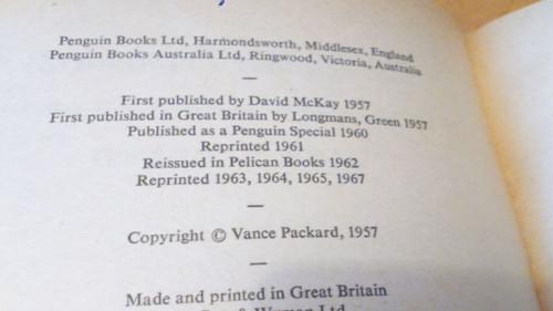 Packard, Vance - The Hidden Persuaders - PB Vintage Pelican - Advertising Psychology
