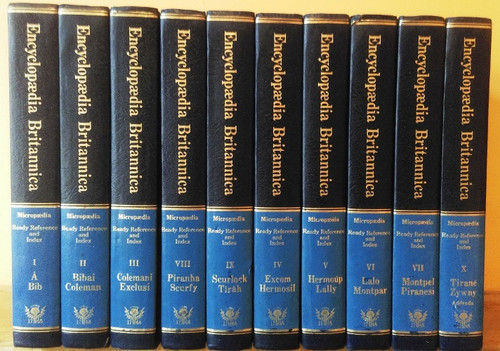 Encyclopaedia Britannica (Complete 10 Book Encyclopaedia Set)1976 Roman numerated