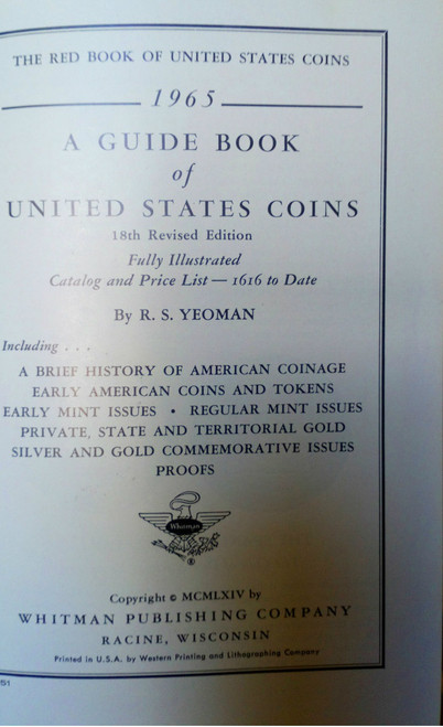 Yeoman, R.S - A Guide Book of United States Coins 18th Ed 1965 - 1600's-1960's