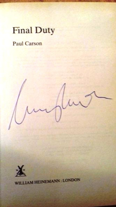 Paul Carson / Final Duty (Large Hardback) (Signed by the Author)