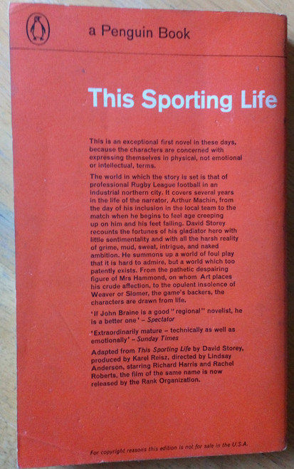 Storey, David - This Sporting Life - Vintage Penguin PB Film Tie In Ed 1963 Richard Harris