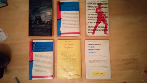 Wheatley, Dennis - 6 book Lot - Vintage Arrow Paperbacks 1960's - The Sword of Fate, The Secret war, The satanist, Three Inquisitive People, The Eunuch of Stamboul, The Prisoner in the Mask