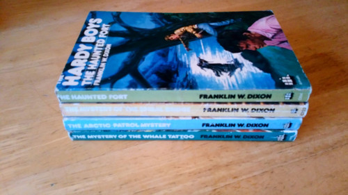 Dixon, Franklin W. - Hardy Boys  : 4 Book Lot - Haunted Fort, Mystery of the Whale Tattoo, Arctic Patrol Mystery, Mystery Spiral Bridge - Vintage Armada PBs