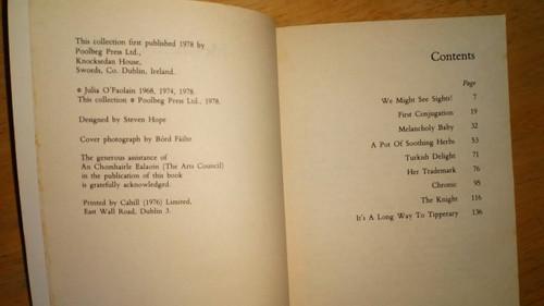 O'Faolain, Julia - Melancholy Baby - Vintage Poolbeg Press PB 1978 Short stories