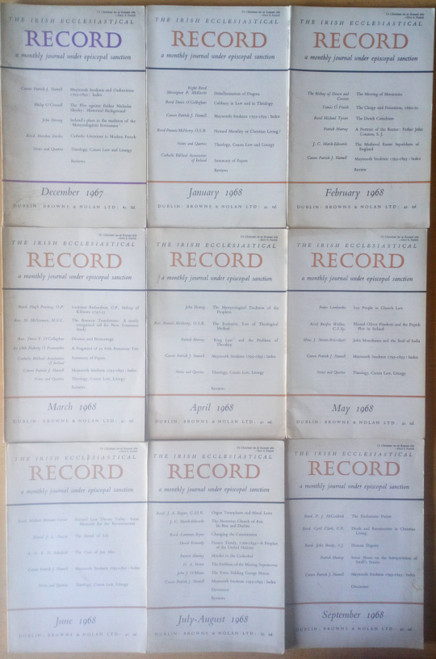 Irish Ecclesiastical Record - Monthly Journal - 9 Issue Lot - January 1967 through September 1968