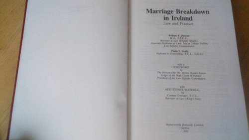 Duncan & Scully - Marriage Breakdown in Ireland - Law & Practice HB 1990 ( 1994 Reprint) Butterworth Irish law Library
