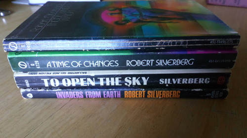 Silverberg, Robert - 4 Book Lot Vintage PB -Those Who Watch, A Time of Changes, To Open the Sky,  Invaders from Earth - US 1960's Editions