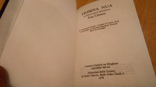 Ó Cuinn, Coslett - An Tiomna Nua - HB New Testament  ( Bible ) - As Gaeilge - 1970 Edition