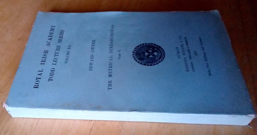Gwynn, Edward - The Metrical Dindshenchas Part V - Royal Irish Academy Todd lecture Series, Volume xii 1935 - Vintage PB