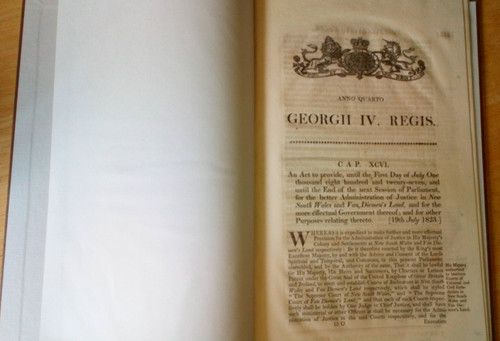 An Act for the Better Administration of Justice in New South Wales & Van Diemen's Land 1823 - Original Westminster Pariamentary Act George IV