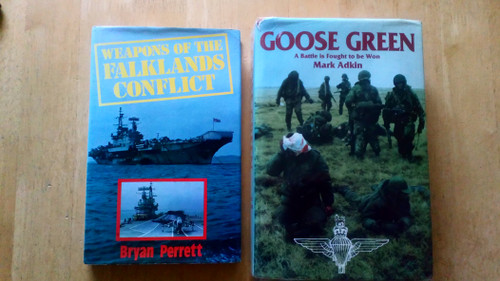 Military History - Falklands War 1982 - 2 Book lot - Perrett, Bryan -Weapons of the Falklands Conflict HB  & Adkin, Mark - Goose Green : A Battle is Fought to be Won - HB