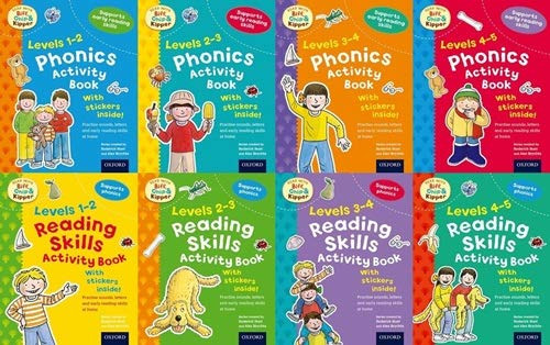 Read with Biff, Chip & Kipper: 8 activity books with stickers.