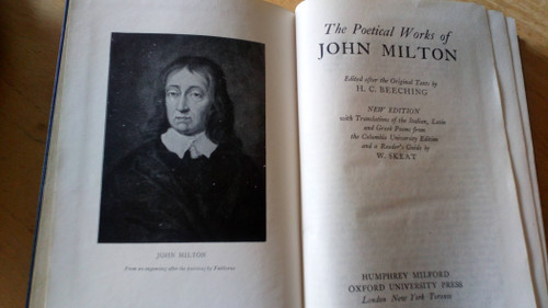The Poetical Works of Milton - HB - Oxford 'Standard Edition ' - 1944 - With Translations by R Skeat