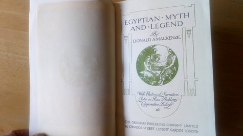Mackenzie, Donald A - Egyptian Myth and Legend - Vintage HB Gresham UK  1920's