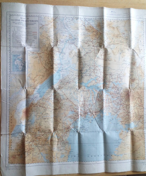 Uganda 'Protectorate' - East Africa - Folded cloth Sheet Map - 1928