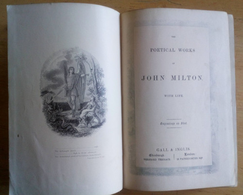 Milton , John - Poetical Works - Hardcover 1890'S Edition, with Life of Milton ' and Engravings