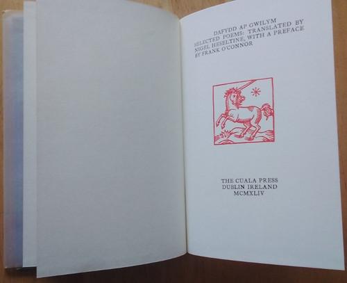 Heseltine, Nigel ( Translator) - Dafydd ap Gwilym : Selected Poems - HB Cuala Press Reprint , Preface by Frank o'connor - 1971 ( Originally 1944)