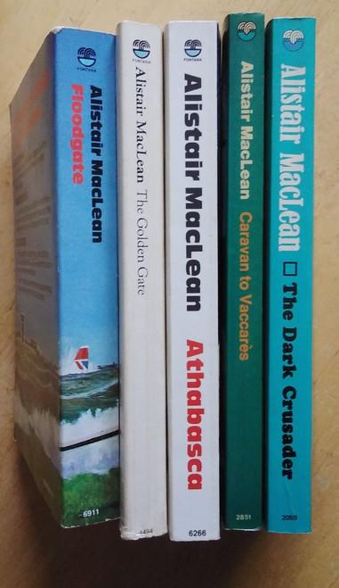 MacLean, Alistair - 5 Vintage PB Book Lot - The Dark Crusader, Caravan to Vaccares, The Golden Gate, Floodgate, Athabasca - Fontana PB