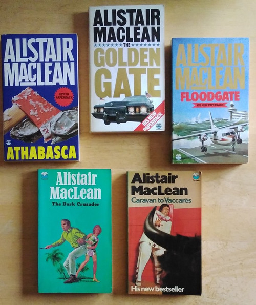 MacLean, Alistair - 5 Vintage PB Book Lot - The Dark Crusader, Caravan to Vaccares, The Golden Gate, Floodgate, Athabasca - Fontana PB