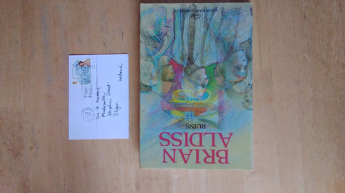 Aldiss, Brian - Ruins - HB - Signed 1st Edition , and signed postcard - Hutchinson UK 1987