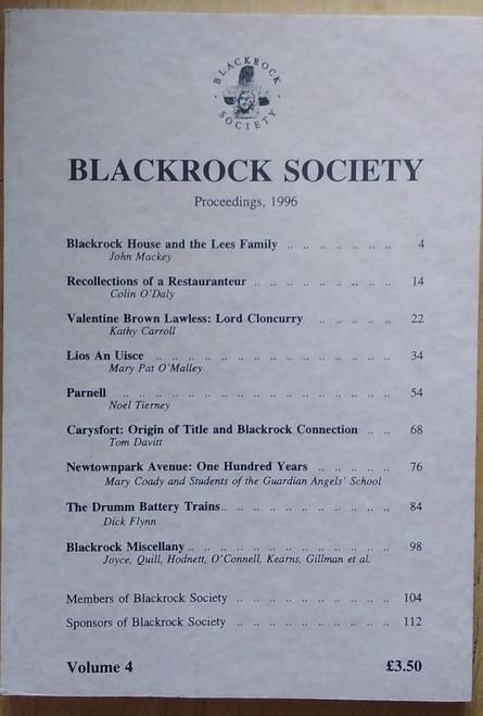 Stafford, John ( Editor) Proceedings of the Blackrock Society ( Dublin) 1996 -Volume 4 - Local History Joornal - PB