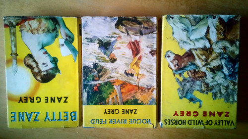 Grey, Zane - 3 Book LOT - Vintage HB Westerns - Rogue River Feud, Betty Zane, Valley of Wild Horses - 1952 HB Reprints