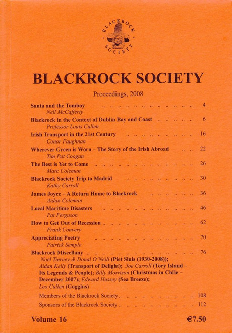 Carroll, Joe ( Editor) - Blackrock Society - Proceedings : 2008, Volue 16Ret- Local History - Dublin