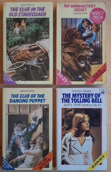 Keene, Carolyn - Nancy Drew Mysteries - 6 Book Vintage Armada PB's - Mystery of the Tolling Bell, Clue of the Dancing Puppet, Ringmasters Secret, Clue in the Old Stagecoach, Clue of the Broken Locket, The Spider Sapphire Mystery